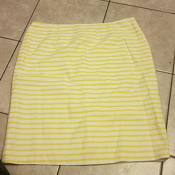 ace1e440f6 Isaac Mizrahi Skirts | Yellow And White Striped Skirt Sz 12 | Poshmark